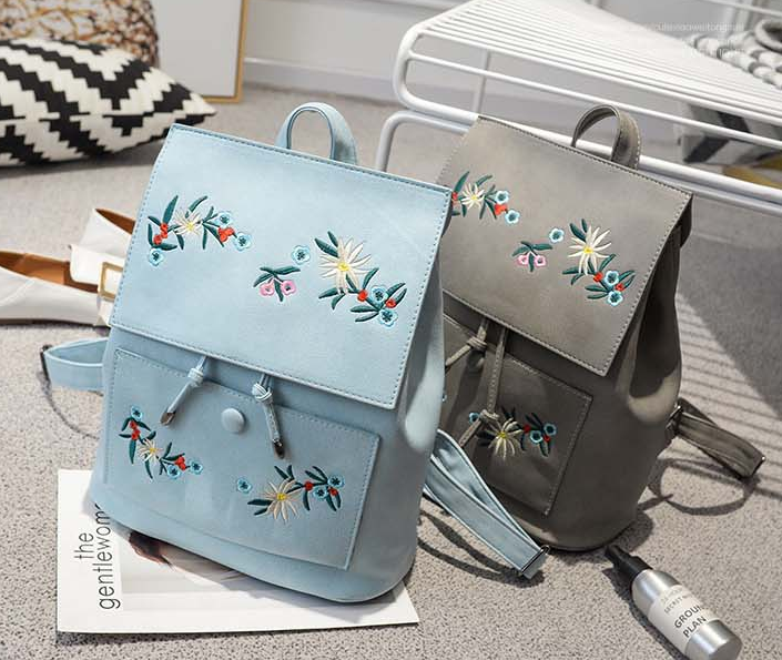 d52e87f682be Fashion Floral Pu Leather Backpack Women Embroidery School Bag For Teenage  Girls Brand Ladies Small Backpacks Sac A Dos 565. Text. Text