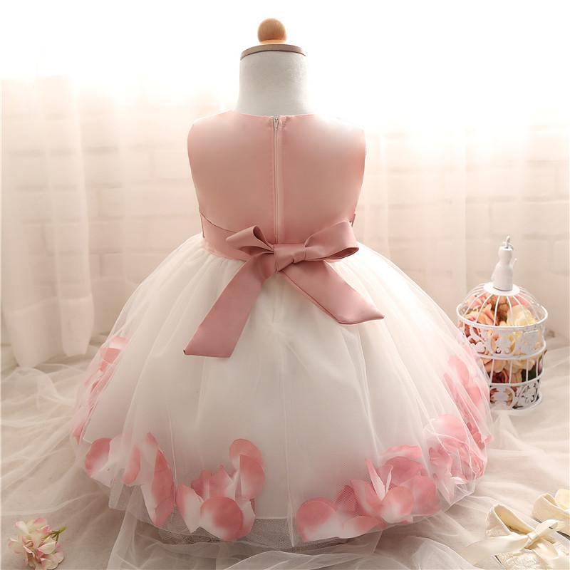 e1b33876478 Summer Floral Baby Dress For Wedding Party Sleeveless Rose Petal Hem  Christening 1 Years Toddler Girl Birthday Baptism Clothes