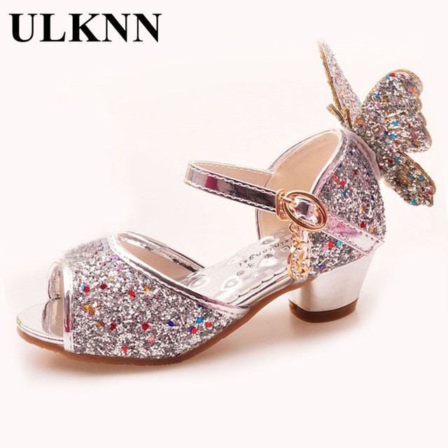 ULKNN Girls Sandals Rhinestone Butterfly pink Latin dance shoes 5-13 years  old 6 children 7 summer high Heel Princess shoes kids 327dca80d03e
