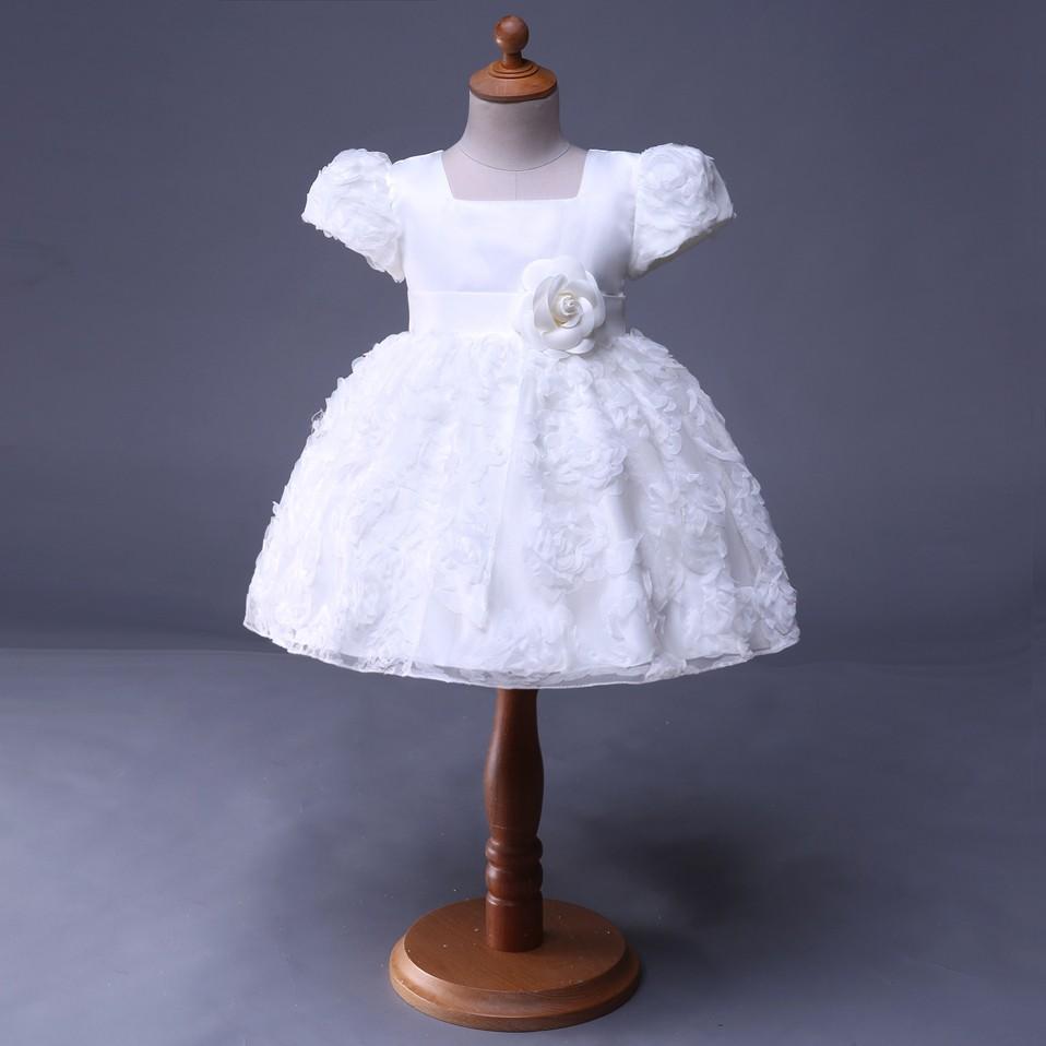 Mareya Trade Cuestyles White Flower Girl Dresses Short Sleeve