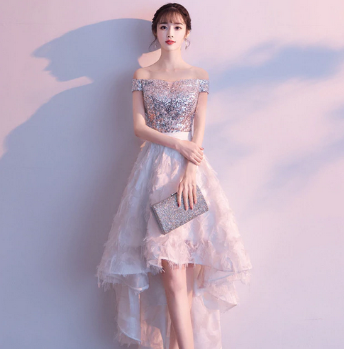 3739d22e566 weiyin 2019 Evening Dresses Boat-neck Short Front Long Back Lace Lace  A-line Women Party Special Occasion Prom Gown WY1100
