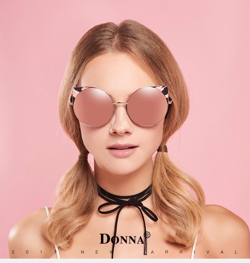 3c4f7900d92 Donna Oversized Cat Eye Sunglasses Women Round Mirror Gold Rose Frame  Oversized Mirror Sun Woman Fashion HD Lens Glasses D22