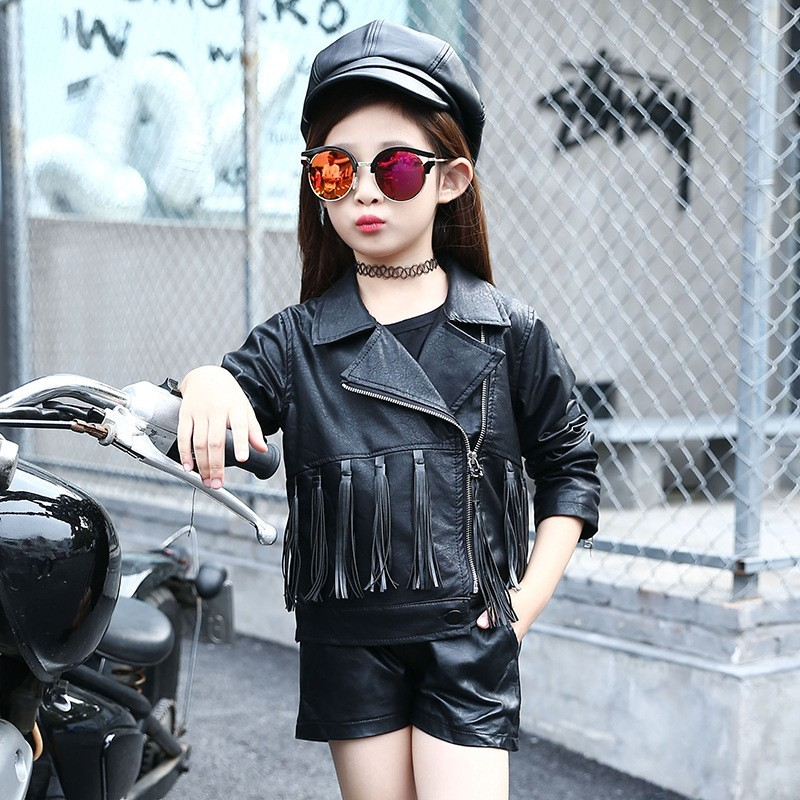 8b94f81d4ba9 Mareya Trade - Kids Girls Leather Jacket Fashion Kids Faux Leather ...