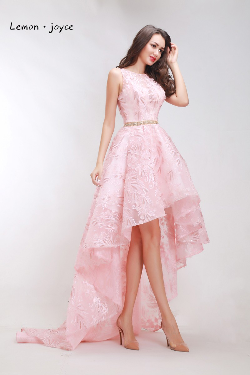 3251d82d7c Luxury High Low Prom Dresses New O-neck Sleeveless Flower Formal Evening  Pink Party Long Gowns Plus Size