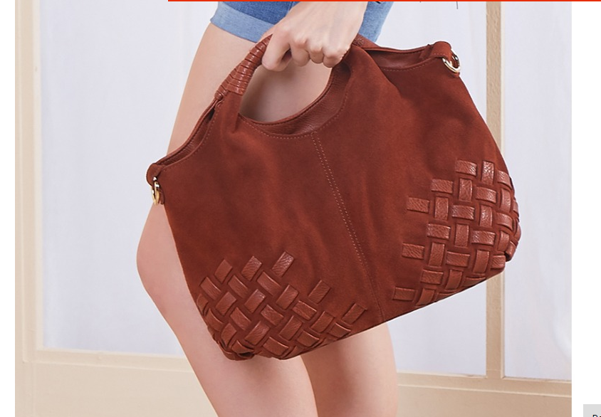 Latest Women Weave Suede Split Leather Handbag Female Leisure Casual Lady  Crossbody Shoulder Bag Messenger Top-handle Bags Sac d7d6cdccf7b18