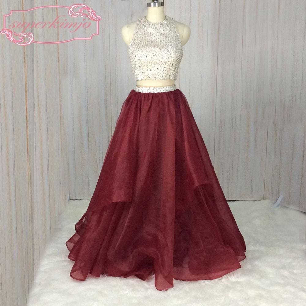 5162dafd6d2 SuperKimJo Halter Prom Dresses with Rhinestones 2 Piece Prom Dresses Long  Burgundy Sexy Formal Dresses Vestido De Festa