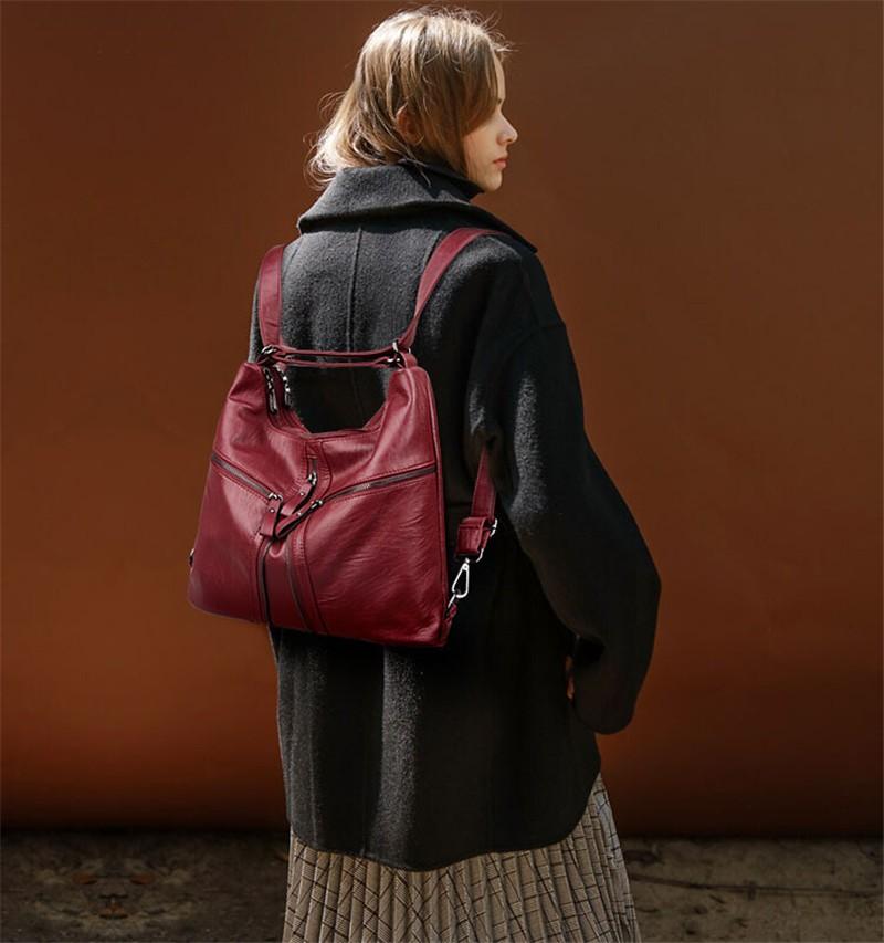Weiju High Capacity Women Pu Leather Bags Multifunctional Bag Designer Handbags Zipper Tote Las Practical Shoulder