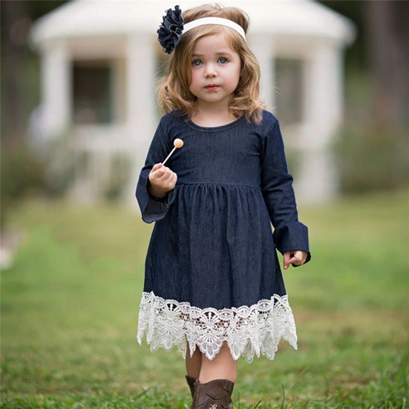 3dbf9ea94b Cute Child Newborn Children Baby Girls Jeans Denim Ruffles Lace Tutu Dress  Gowns Wedding Apparel Princess Pageant Party Gowns P6