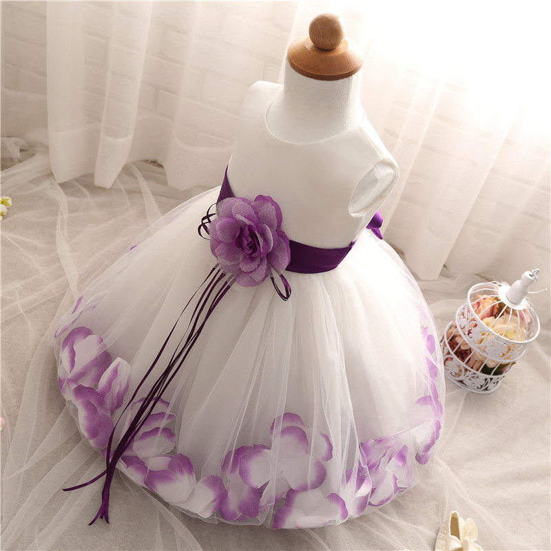 13b282c1c40 Summer Floral Baby Dress For Wedding Party Sleeveless Rose Petal Hem  Christening 1 Years Toddler Girl Birthday Baptism Clothes. Text. Text.  Text. Text