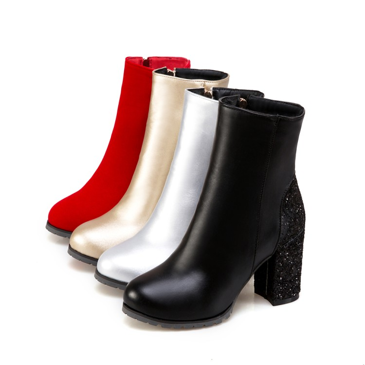 38497d3dc5d9 ZawsThia fashion winter golden silver red bling glitter boots block high  heels woman ankle boots warm plush women shoes size 48