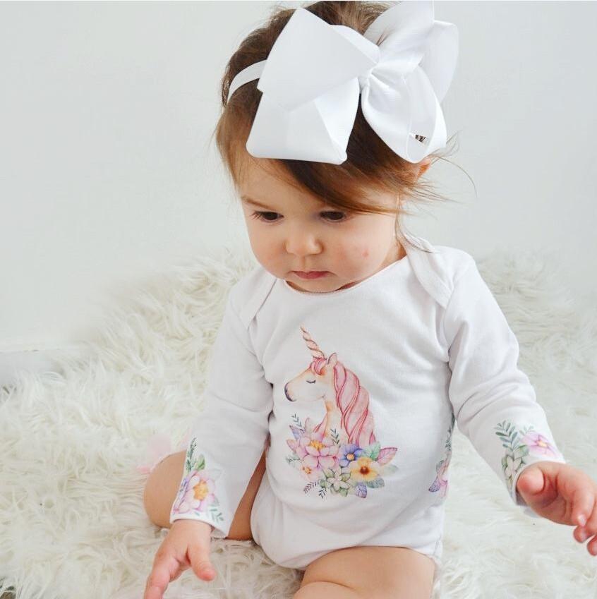 24e11ced2 Mareya Trade - White Newborn Baby Girls Boy Unicorn Romper Jumpsuit ...