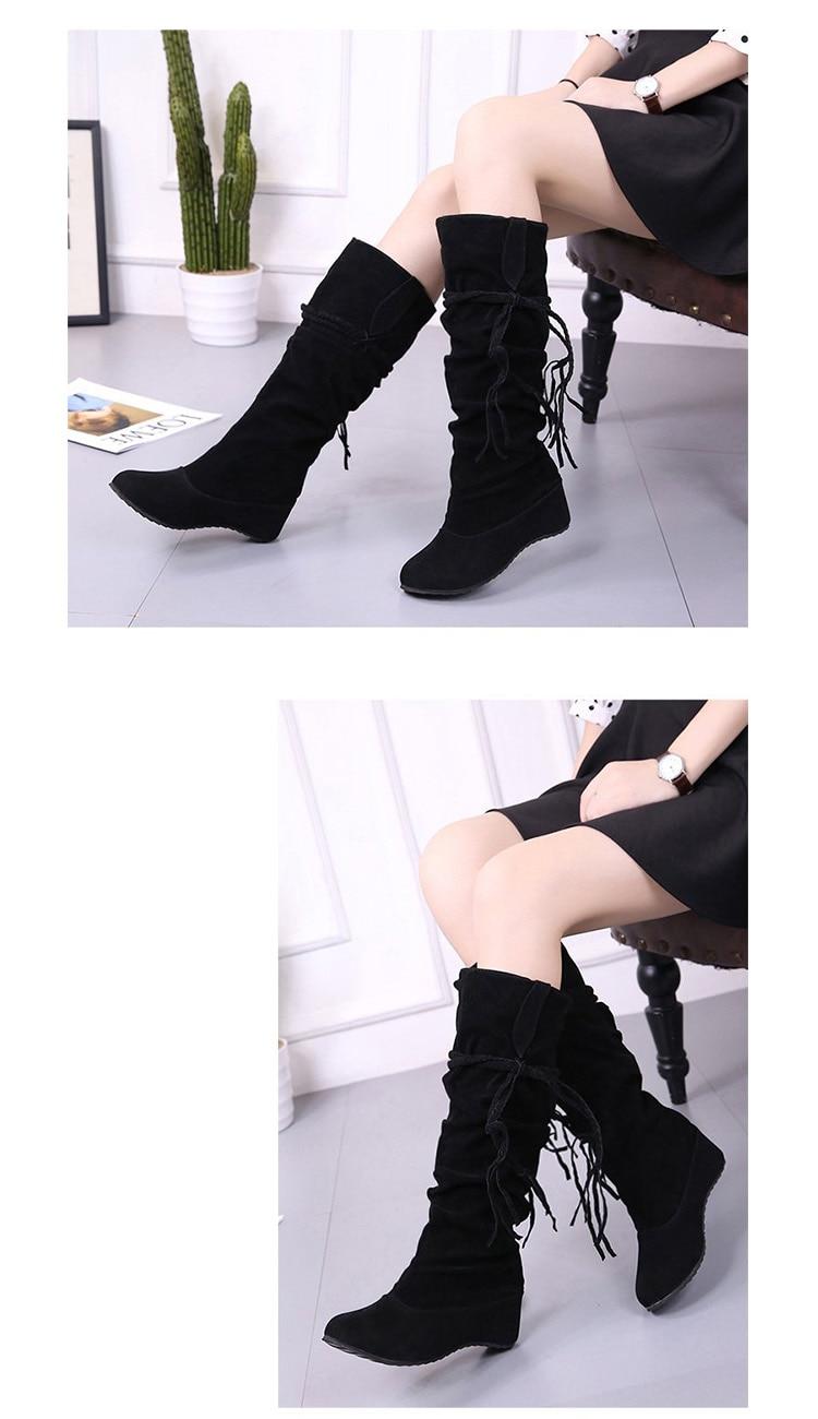 bafd883659e Women Boots 2018 Mid Calf Boots Fashion Women Shoes Plus Size Winter Boots  Fringe Fenty Beauty Female Boots Suede Ladies Shoes