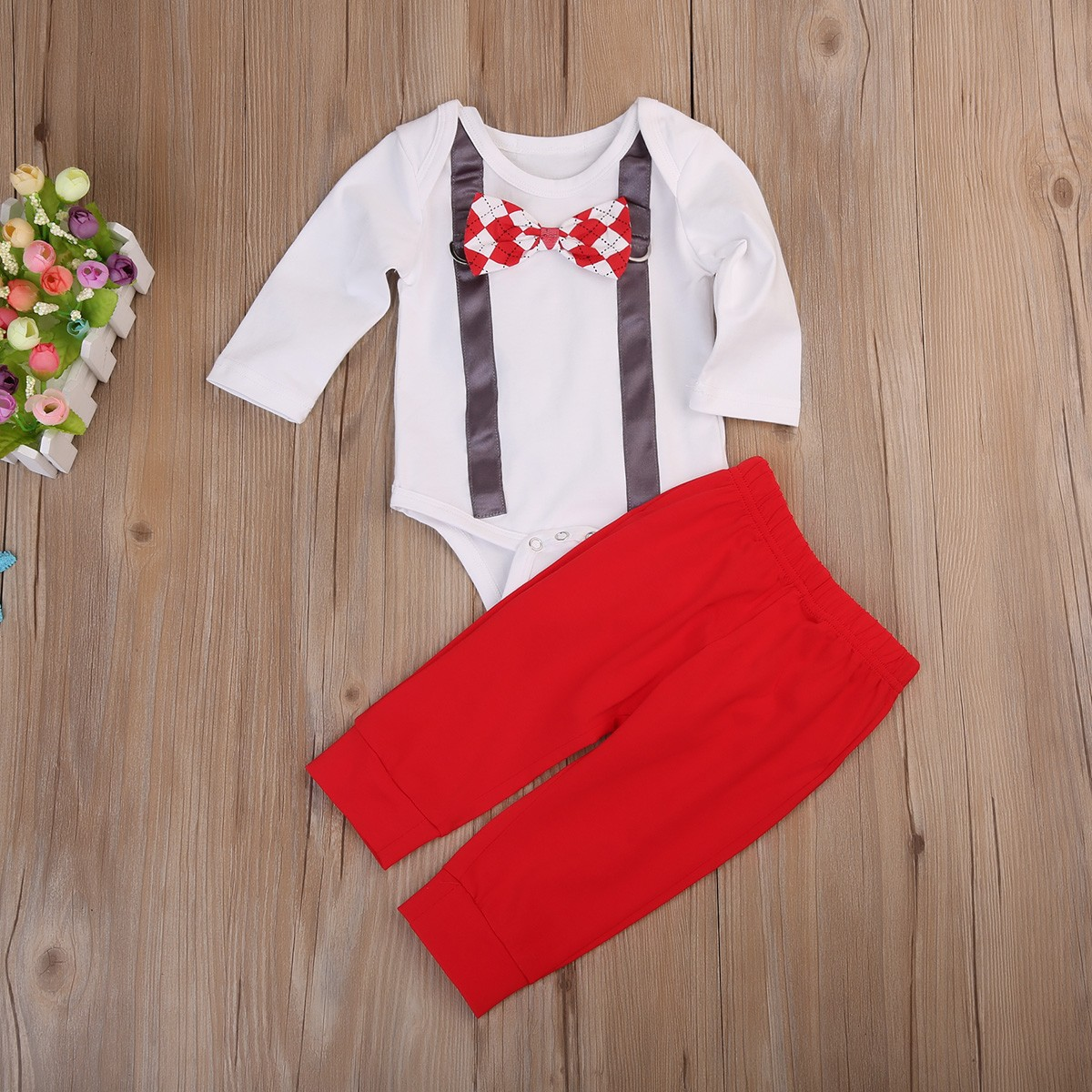 6b30e9ac9949 Mareya Trade - Newborn Baby Boy Fake Suspender Print Romper Pants ...