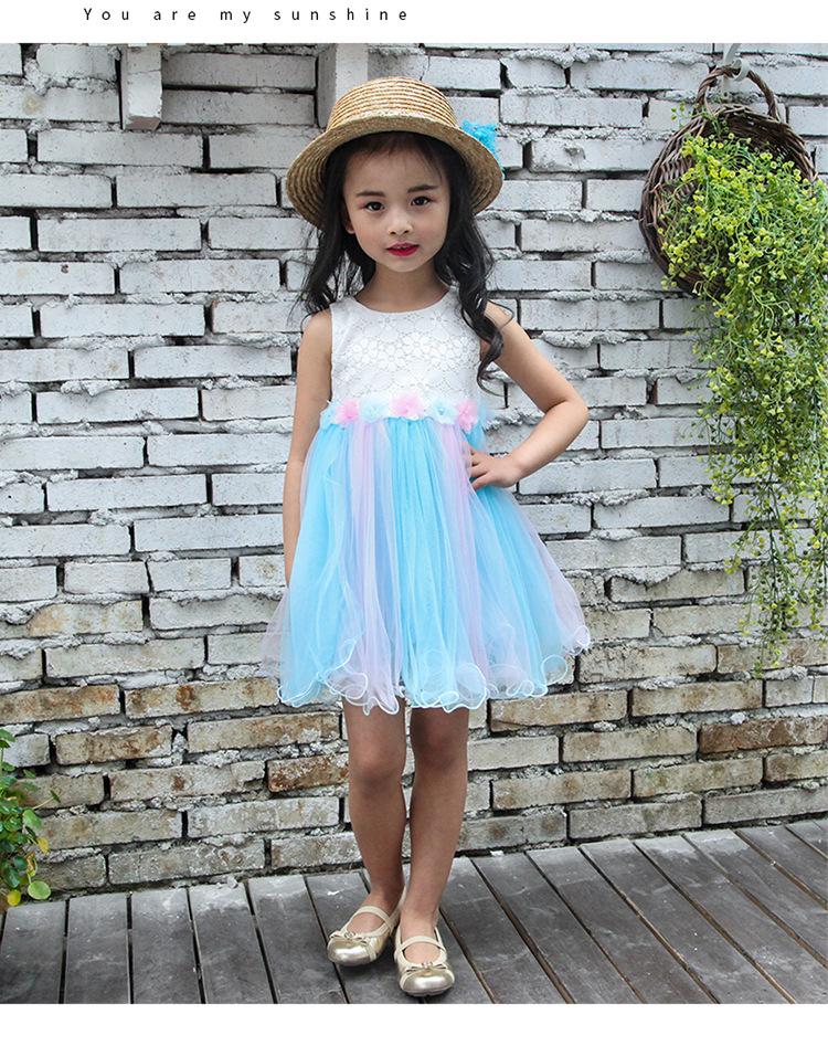 fe02ad240 Mareya Trade - baby big girls dress summer 2018 appliques flowers ...