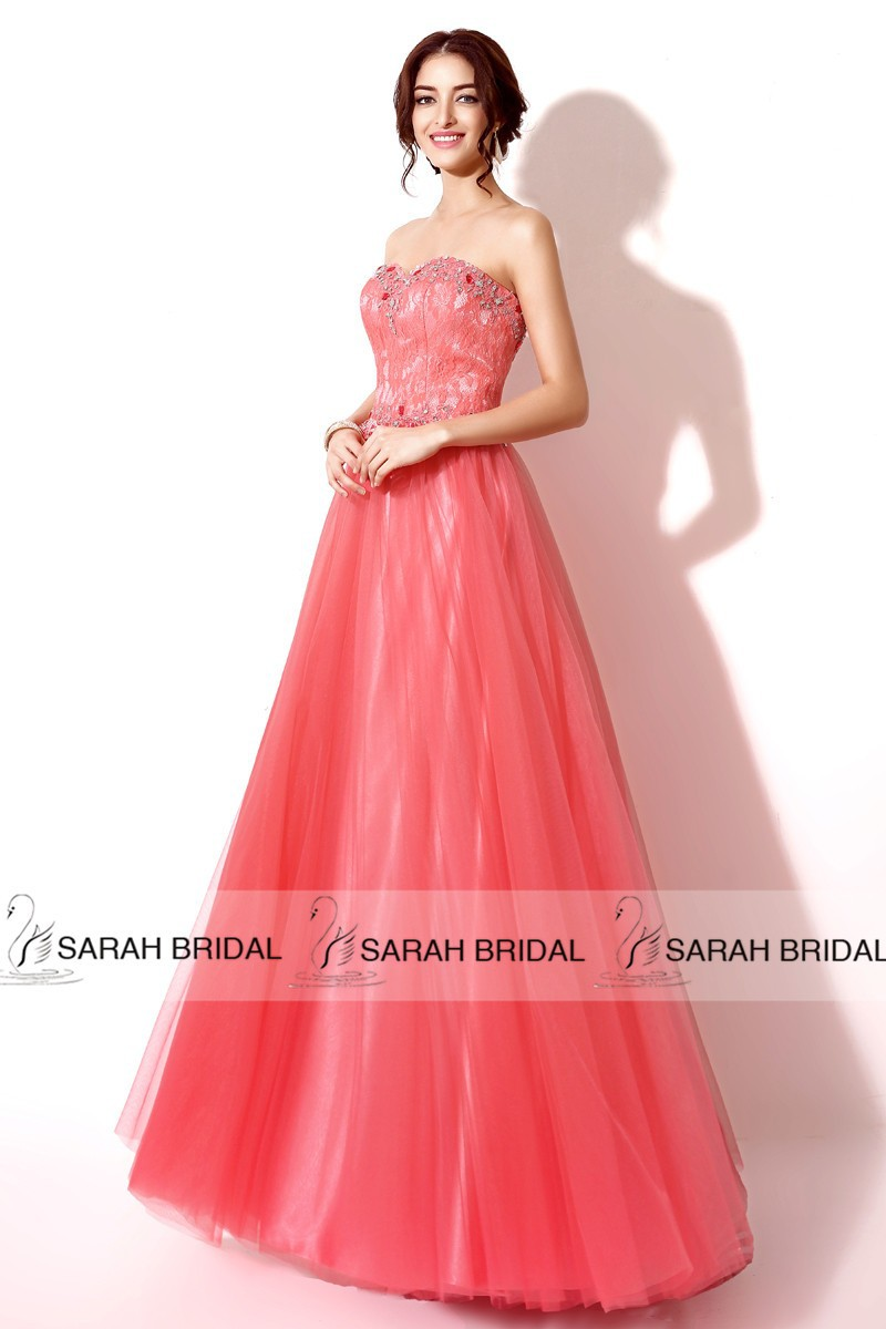 Mareya Trade - Fashion Women Prom Dresses Coral Tulle Lace Beading ...