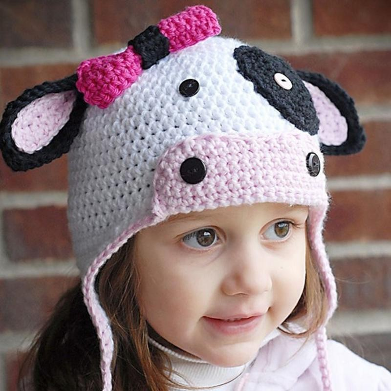 Mareya Trade Baby Caps Hats For Girl Boys Crochet Cow Outfits Baby
