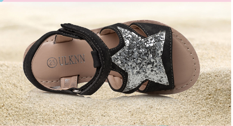 ULKNN Girls Sandals Children Shoes Glitter Star Candy Color White Open-toe  Sandals For School Female Kids Flat Leather Shoes. Text. Text 4b10a6b67cf1