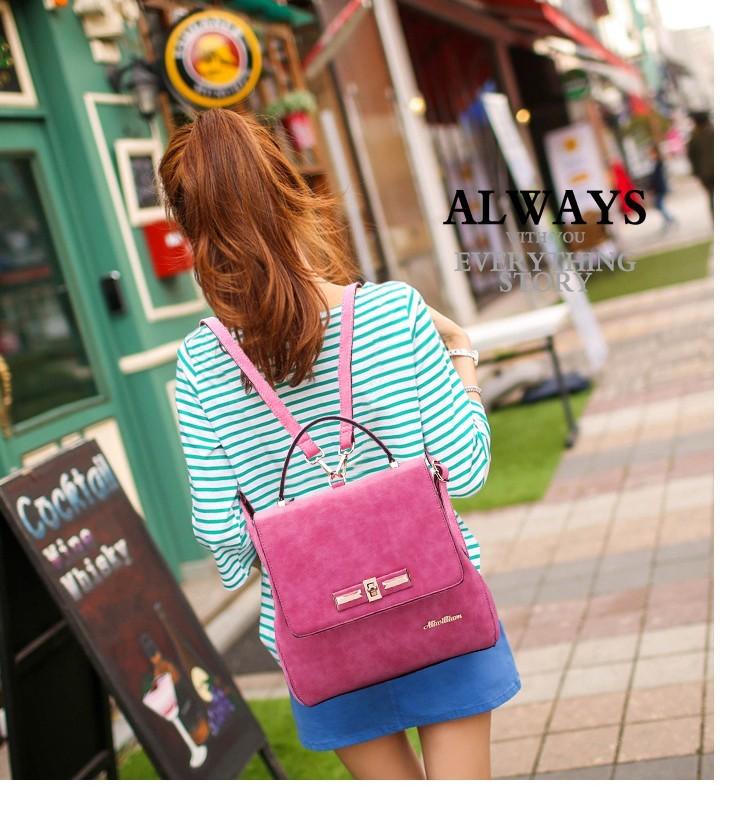 Women Designer Scrub Leather Backpacks Brand Vintage Crossbody Bag Ladies  Shoulder Tote Bag Girls Teenage Hot Pink Travel Bags 906222245e5b2