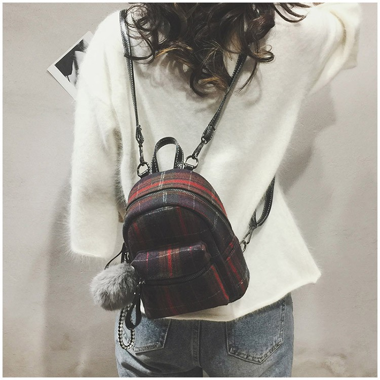 LEFTSIDE Small Wool Female Backpacks Mini Plaid Girl s Backpack with  Hairball Casual style Travel Bags Women Winter Bag 2018 d0a57aaeec95a