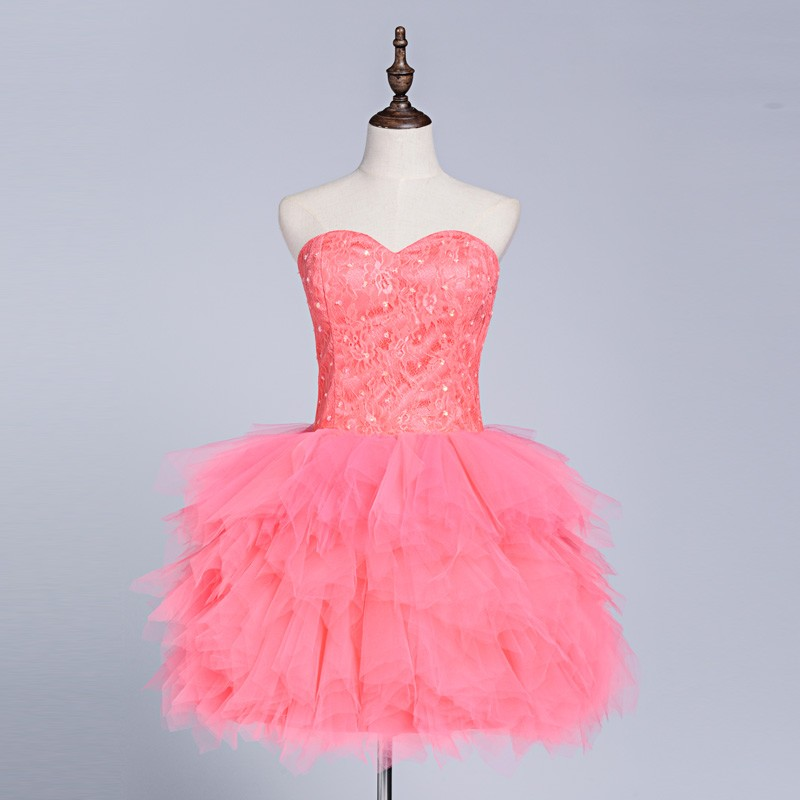 37ec6e4516 Short Lovely Coral Ball Gown Cocktail Dresses With Lace Beaded Top and Tulle  Ruched Skirt Sweetheart Mini Gala Party Dress SD304