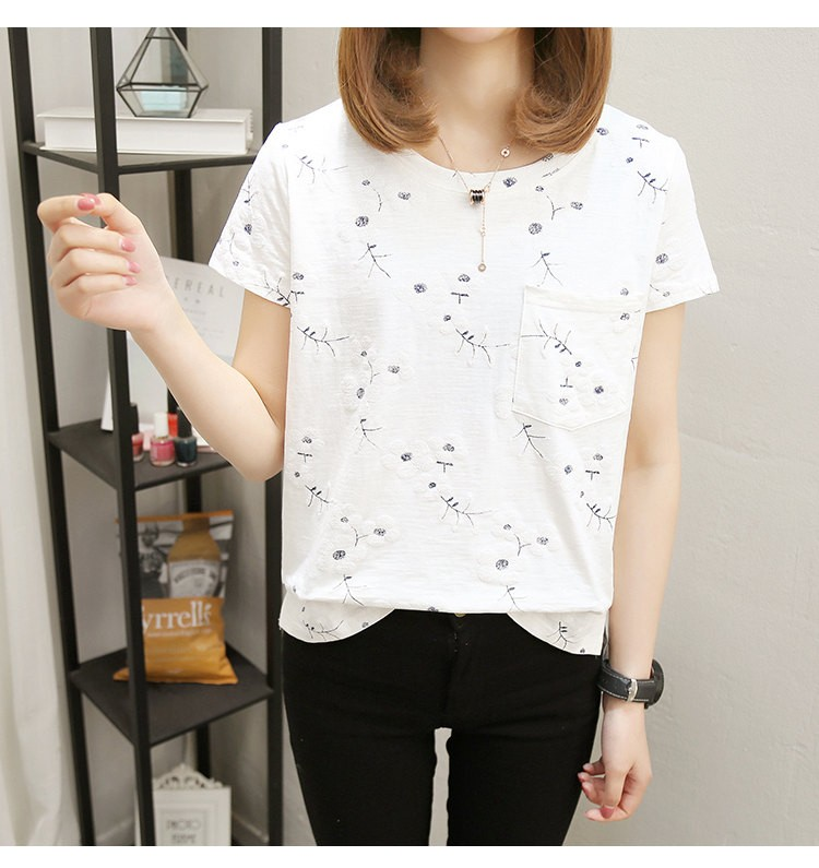 Mareya Trade 2018 Summer Cotton Blouses Women Tops Flower