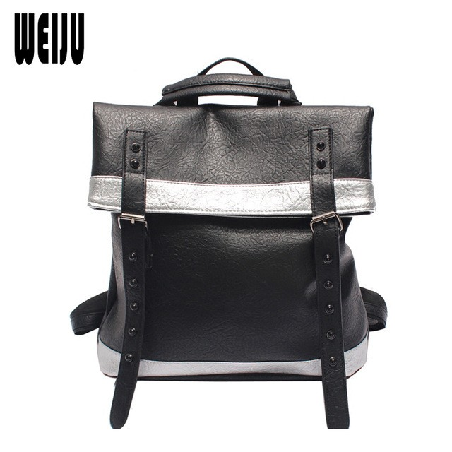WEIJU Brand Preppy Style Rivet Women Backpack Fashion PU Leather School  Backpacks for Girls Casual Large Capacity Shoulder Bags 6fc85cfef0