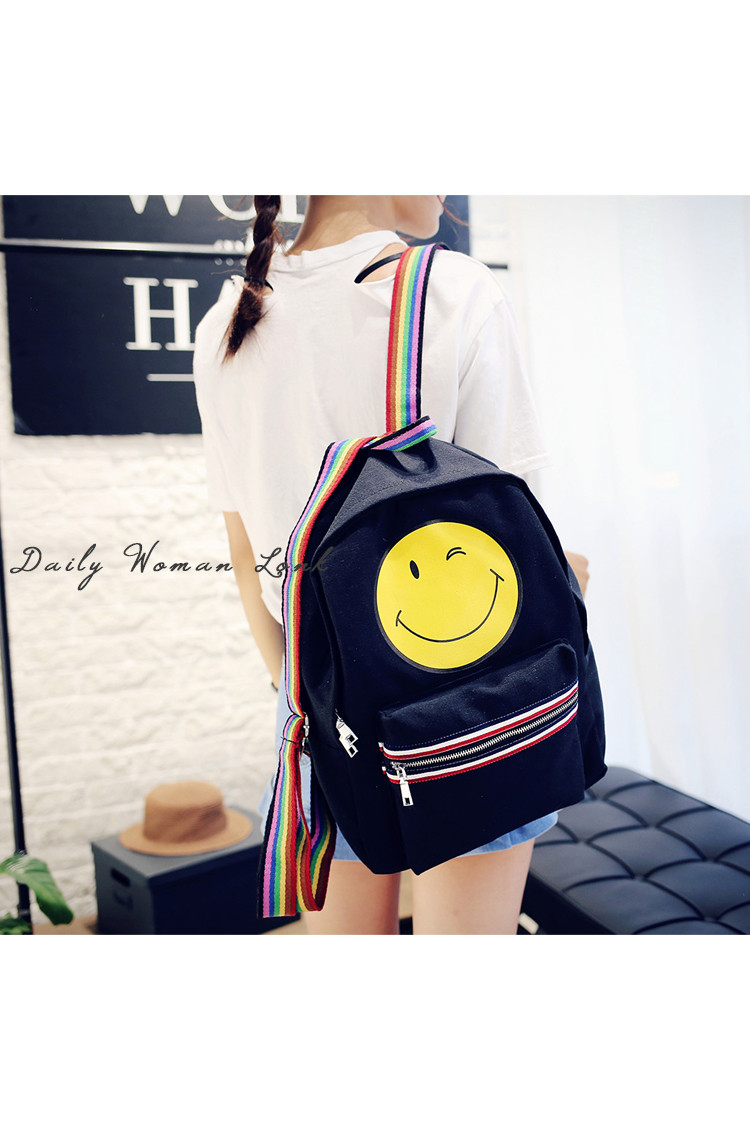 Mareya Trade Quality Canvas Smiley Female Bag Fashion Casual Shoulder Large Capacity Travel Hit Color Rainbow Trip Schoolbag Text