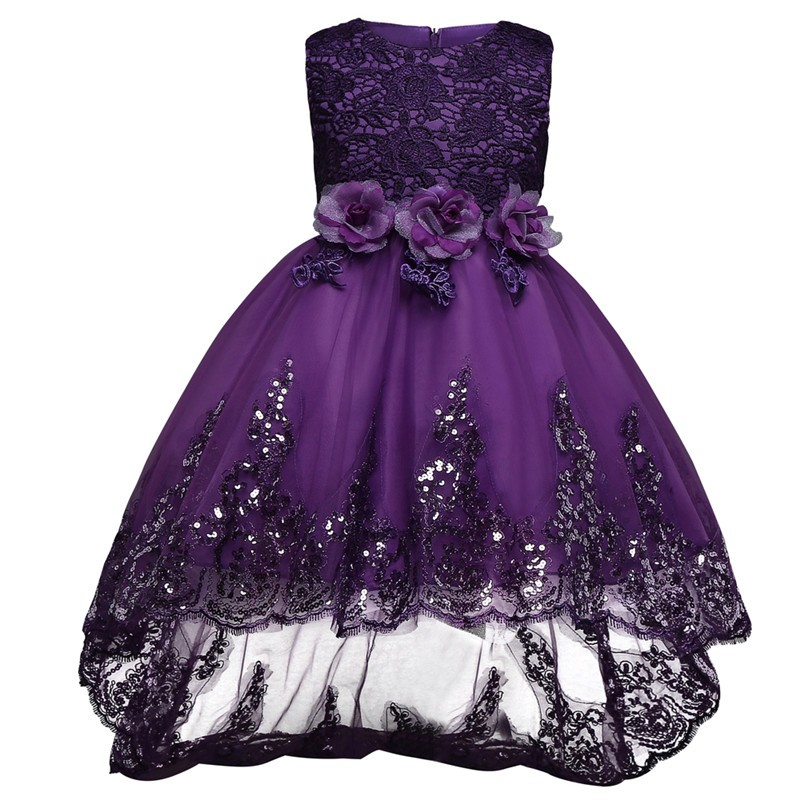 2018 New Baby Girls Party Dress Evening Wear Long Tail Girls Clothes  Elegant Flower Girl Dress Kids Baby Christmas Dresses fc7b572e9040