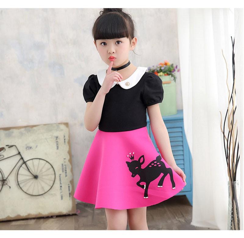 7e7283f700 Cute Deer Pattern Little Girl Dress Doll Collar Patchwork Dress Girl  Birthday Party Wear Kids Clothes Children Summer Mini Dress