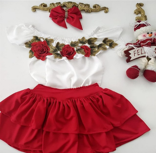 53f7d0354 2pcs Kids Baby Girls Summer Outfits Off Shoulder Floral T-shirts Tops  Skirts Clothes Sets Children Kids Cute Holiday Clothing