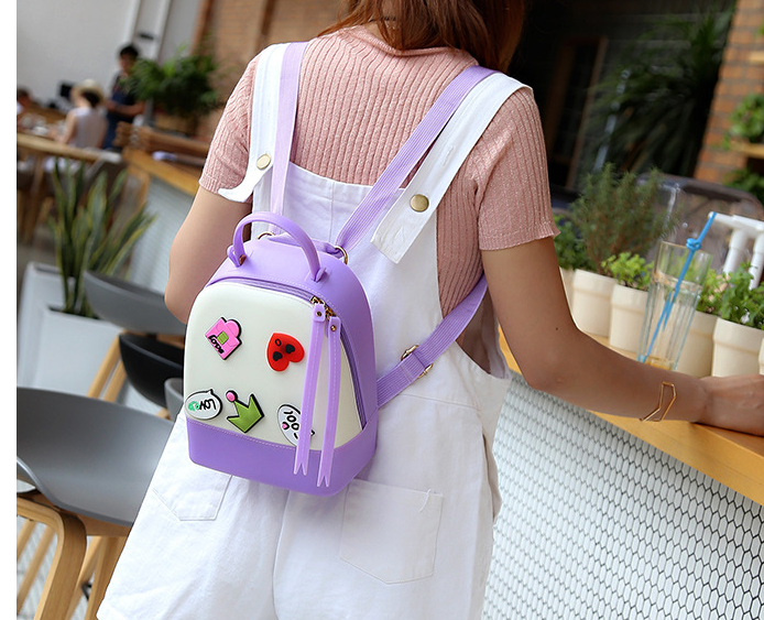 e318f22f13 Text. Text. Candy color Fashion New Women Backpack Quality PVC Hit color  Jelly Shoulder bag College style Sweet Cute Ladies Backpack
