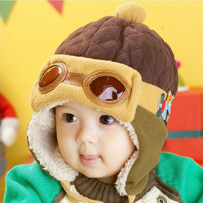 3732f5363a6 Infant Warm Plush Cloth Cap Hat Beanie Cool Baby Boy Girl Winter Pilot Bear Caps  Cute Kids Handsome Aviator Toddler Hats
