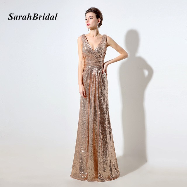 88b6ee224ce Cheap Rose Gold Sequin Bridesmaid Dresses Long Deep V-Neck Sparkly Gala  Dress V Back Wedding Guest Gowns In Stock SD326