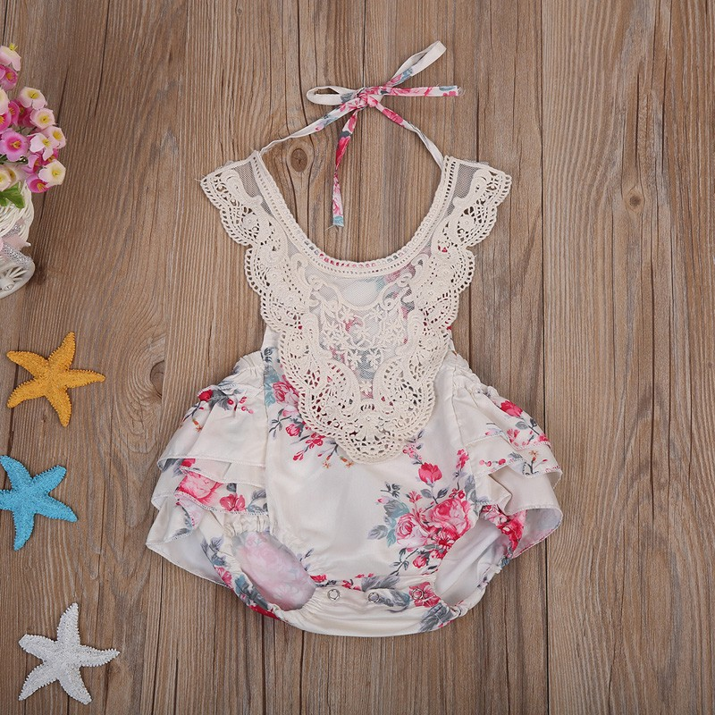 208b1b263308 Mareya Trade - Newborn Baby Girls lace Jacquard Romper Jumpsuit ...