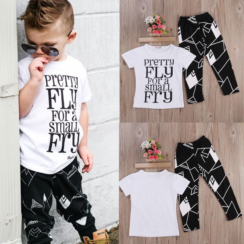 727fec2f12a7 Mareya Trade - 2pcs  set Toddler Kids Boy T-shirt Tops+Pants Summer ...