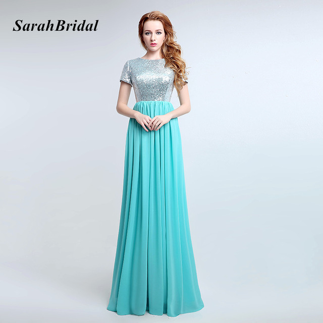 Simple Turquoise Long Bridesmaid Dresses With Sequin Bodice Chiffon Short Sleeve Gala Dress Wedding Party Gowns Sd360