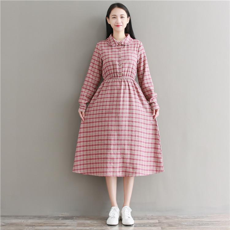 2d0a0d7d69c99 Mareya Trade - Spring Autumn Women Elegant Plaid Midi Dress Peter ...
