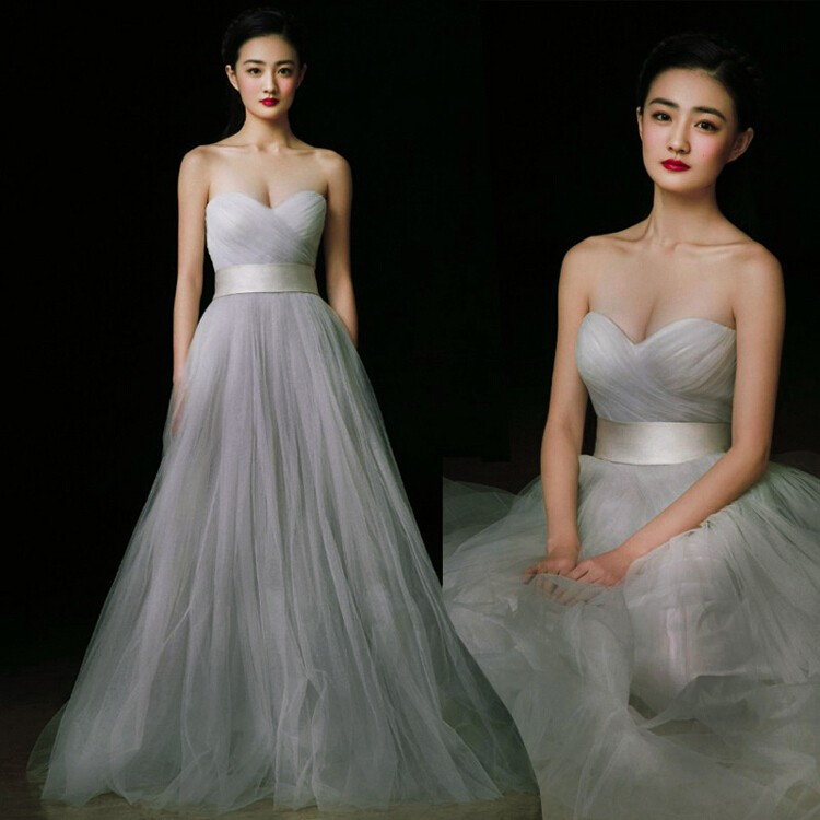Mareya Trade - ladies strapless sweetheart floor length tulle grey ...