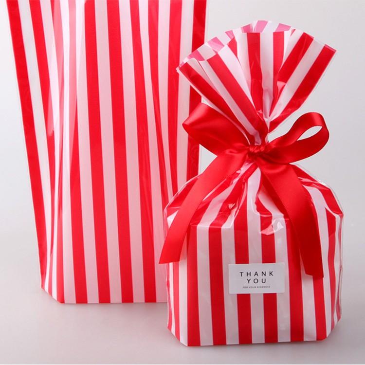 Mareya Trade 50pcs Red Striped Bag Snacks Plastic Food Bags As