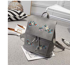 f3d78d69c03a Fashion Floral Pu Leather Backpack Women Embroidery School Bag For Teenage  Girls Brand Ladies Small Backpacks Sac A Dos 565