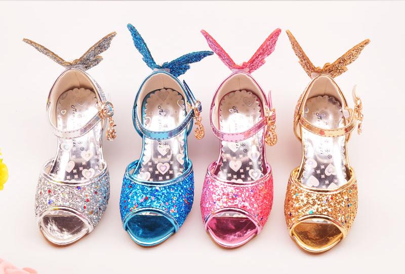 2caa727aff06 ULKNN Girls Sandals Rhinestone Butterfly pink Latin dance shoes 5-13 years  old 6 children 7 summer high Heel Princess shoes kids. Text. Text. Text.  Text