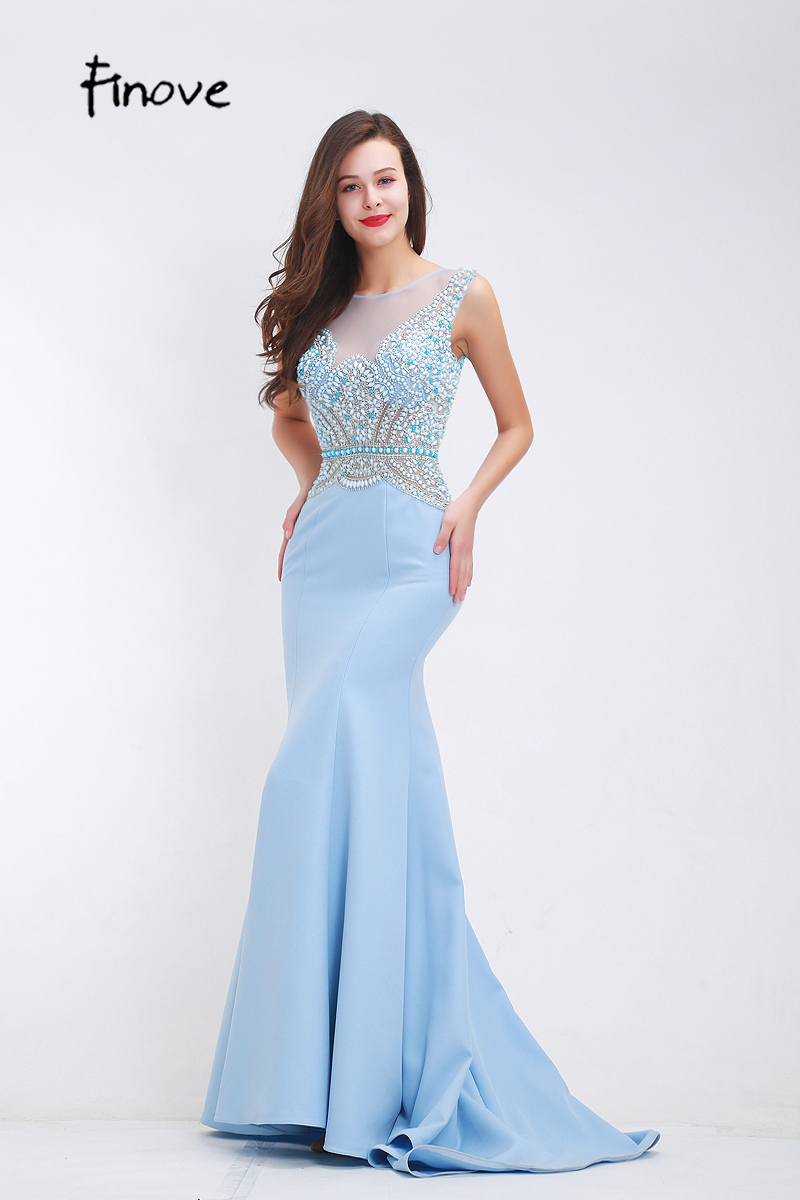 e1adbe1eae3 Mareya Trade - Finove Beading Baby Blue Prom Dresses 2018 Fall New ...