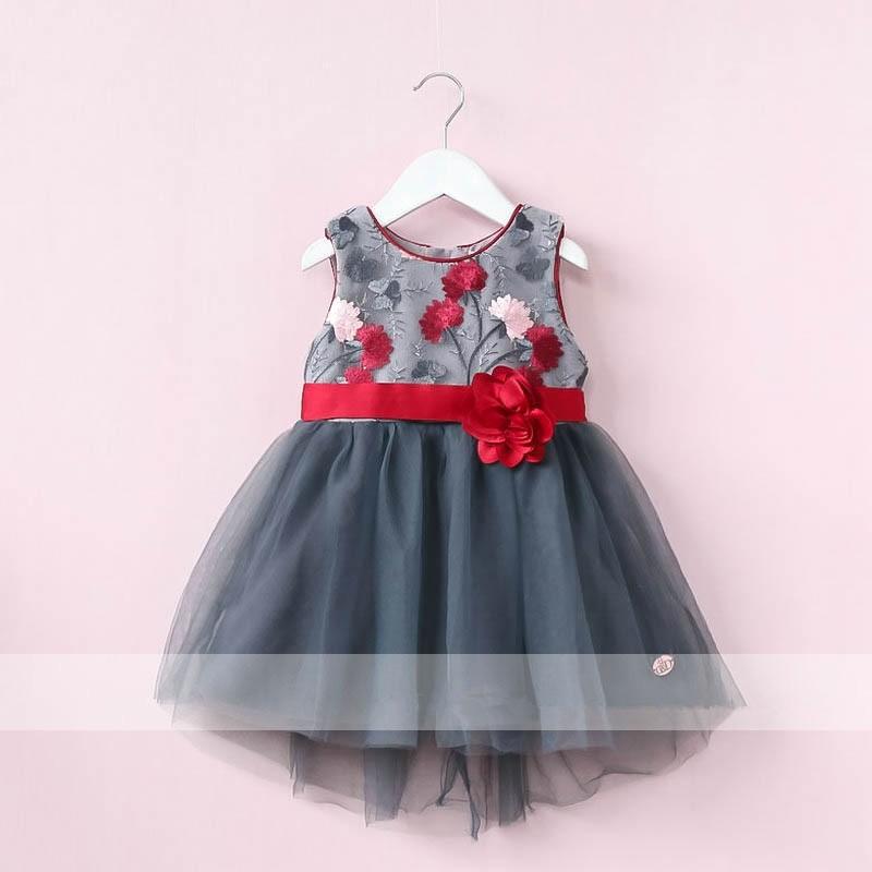 Mareya Trade Kids Girls Flowers Dress 2017 Autumn Girl Party Dress