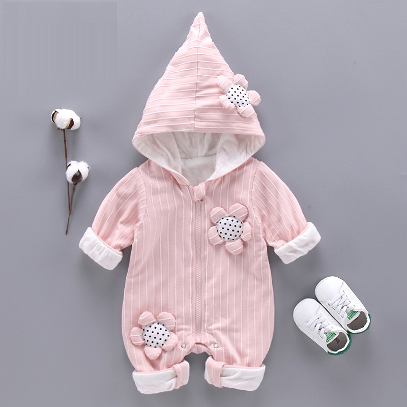 ba6334725 Mareya Trade - Infant Baby Rompers Hooded Long Sleeve Boys Girls ...