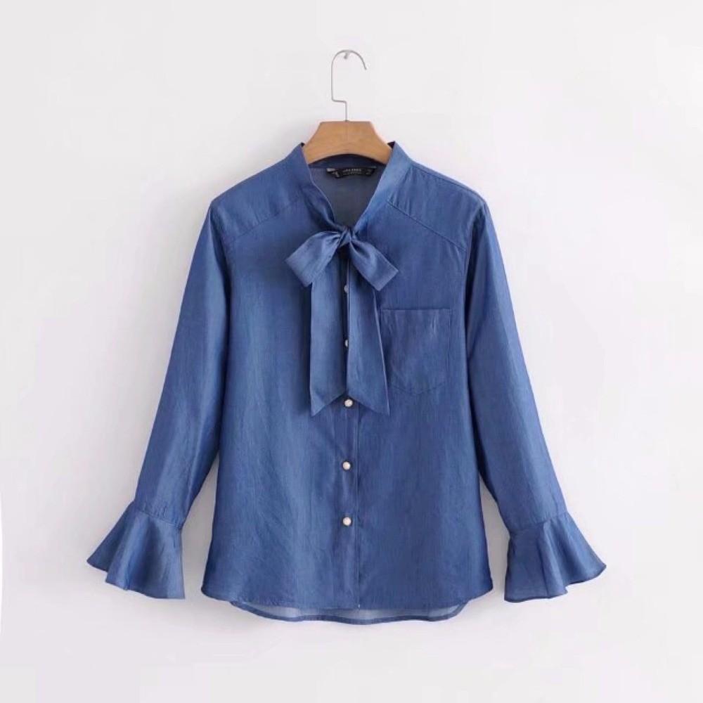 e5490f31b0e New Spring 2018 Women Tencel Denim Blouse Bow Tie Stand Neck Flare Sleve  Casual Blue Shirt Fashion Female Blusas Y2819