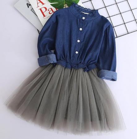 Mareya Trade Bear Leader Girls Dresses 2020 New Summer Fashion Princess Cowboy Stitching Voile Denim Dresses Girls Clothing For 3 7y
